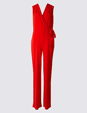 Wide Leg Tie Detail Jumpsuit