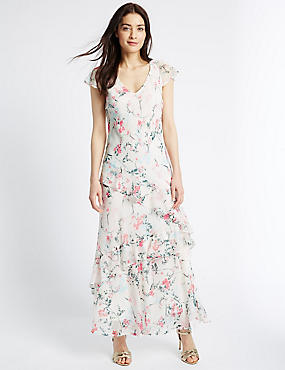 Floral Print Ruffle Detail Maxi Dress