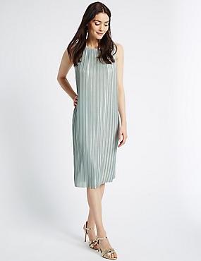 Metallic Textured Sleeveless Shift Dress
