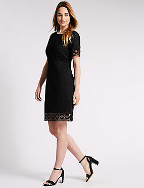 Pure Cotton Tailored Fit Broderie Panelled Shift Dress