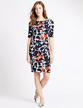 Tailored Fit Floral Shift Dress