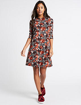Floral Print 3/4 Sleeve Swing Midi Dress