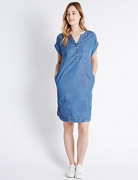 Notch Neck Tunic Dress