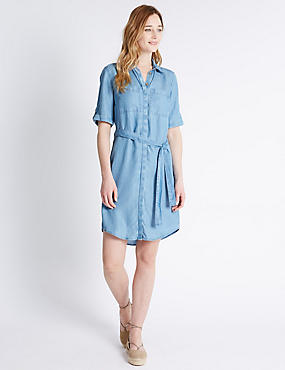 Tailored Fit Collared Neck Shirt Dress