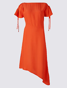 Asymmetric Tie Sleeve Swing Midi Dress