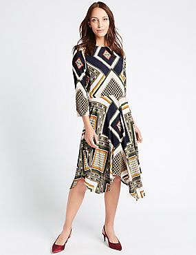 Printed 3/4 Sleeve Skater Midi Dress
