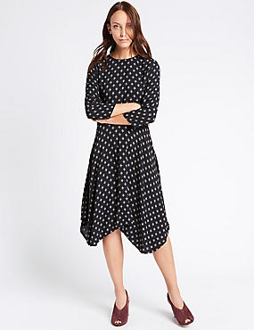 Tile Print 3/4 Sleeve Skater Midi Dress