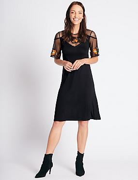 Embroidered Half Sleeve Swing Midi Dress