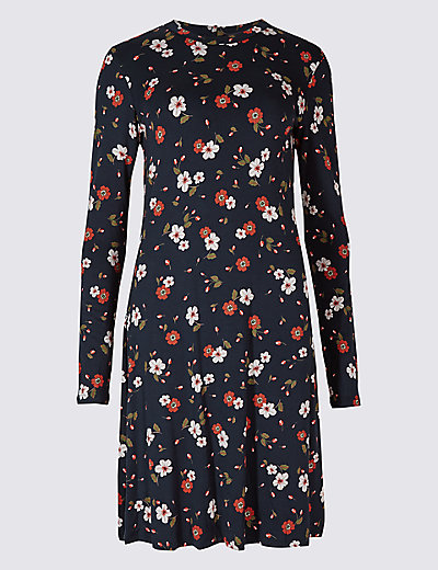 floral print long sleeve swing dress mamps