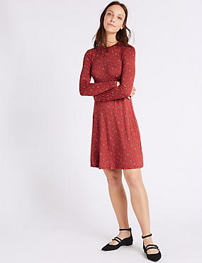 Printed Long Sleeve Swing Midi Dress