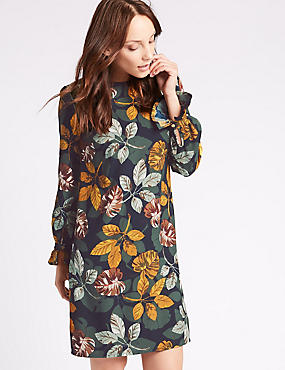 Leaf Print Flared Cuff Tunic Dress