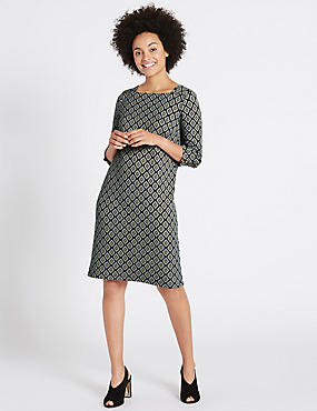 Cotton Rich Jacquard Print Tunic Midi Dress