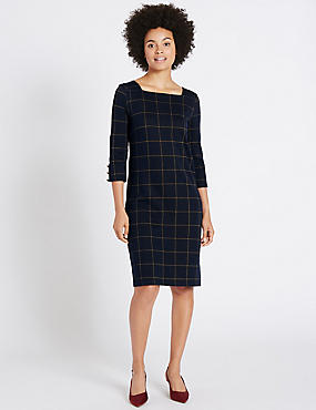 Cotton Rich Checked Cuff Button Tunic Dress