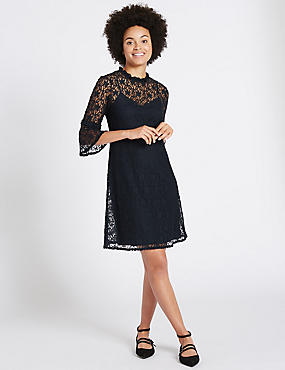 Cotton Rich Lace 3/4 Sleeve Swing Dress