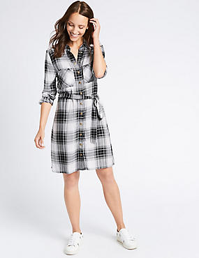 Checked Long Sleeve Shirt Dress with Belt