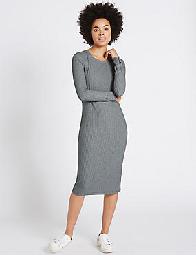 Ribbed Cosy Tube Long Sleeve Midi Dress
