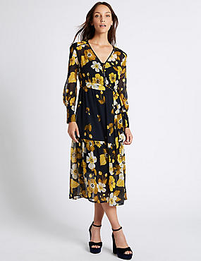 Floral Print Long Sleeve Midi Dress