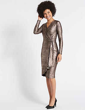Crackle Drape Long Sleeve Wrap Midi Dress