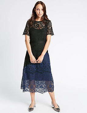 Lace Colour Block Short Sleeve Midi Dress