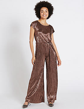Metallic Knot Detail Short Sleeve Jumpsuit