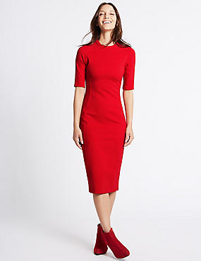 Panelling Detail Bodycon Midi Dress