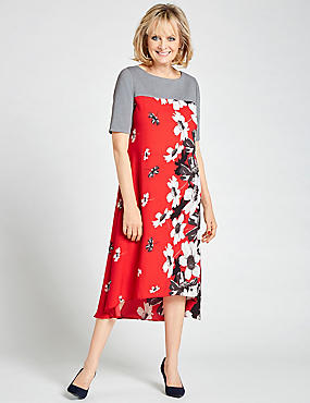 Floral Print Short Sleeve Swing Midi Dress, RED MIX, catlanding