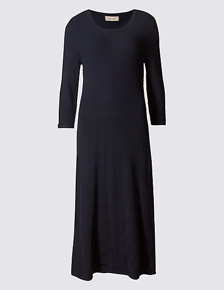Textured 3/4 Sleeve Fit & Flare Dress