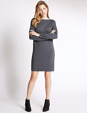 Textured Shift Dress with Wool
