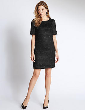 Tinsel Half Sleeve Shift Dress