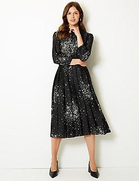 Floral Print Long Sleeve Waisted Midi Dress, BLACK MIX, catlanding