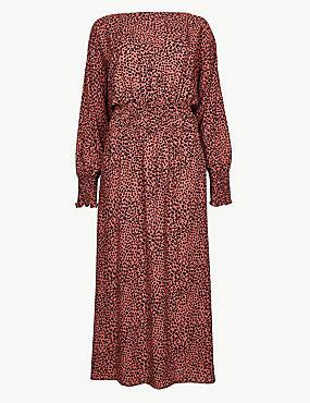 Animal Print Long Sleeve Waisted Midi Dress, TERRACOTTA MIX, catlanding