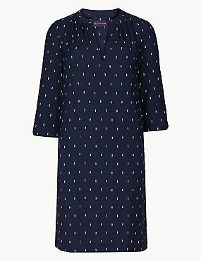 PETITE Printed 3/4 Sleeve Shift Dress, NAVY MIX, catlanding