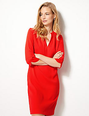 3/4 Sleeve Shift Dress, RED, catlanding