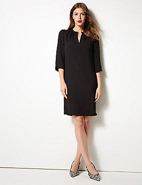 3/4 Sleeve Shift Dress, BLACK, catlanding