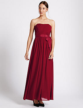 Detachable Straps Pleated Maxi Dress, RED, catlanding