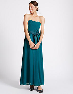 Detachable Straps Pleated Maxi Dress, TEAL, catlanding