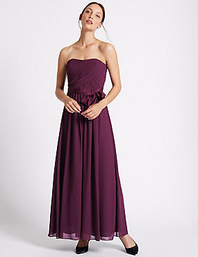 Detachable Straps Pleated Maxi Dress, BLACKCURRANT, catlanding