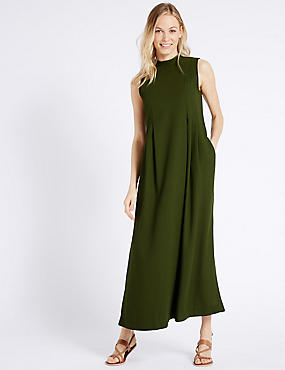 Flared Tie Back Sleeveless Maxi Dress