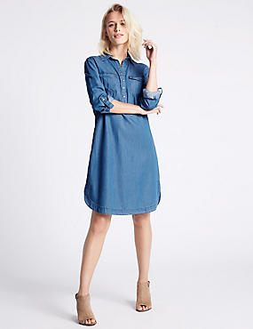Denim Tencel 2 Pocket Shirt Dress