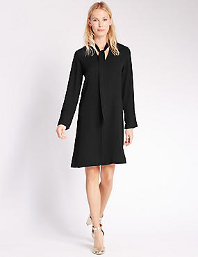 Bow Long Sleeve Tunic Dress