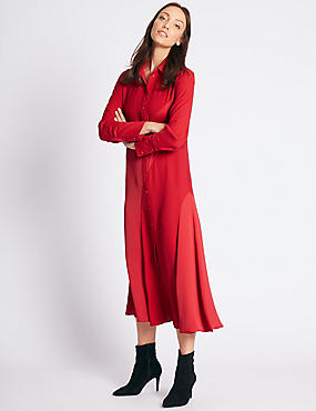 Longline Long Sleeve Shirt Dress