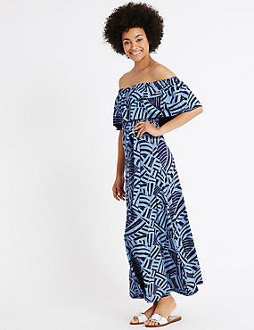 Printed Bardot Frill Sleeve Maxi Dress