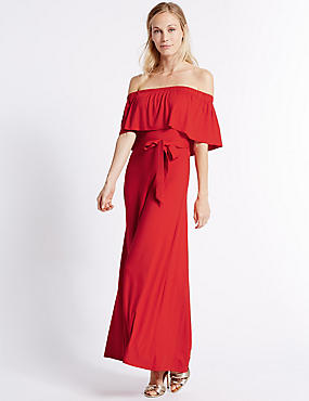 Bardot Frill Sleeve Maxi Dress
