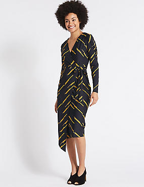 Printed Tie Side Wrap Midi Dress