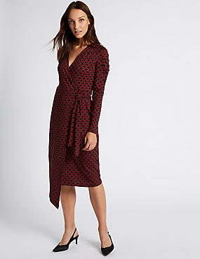 Printed Ruched Sleeve Wrap Midi Dress