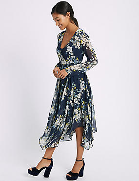 Floral Print Hanky Hem Midi Dress
