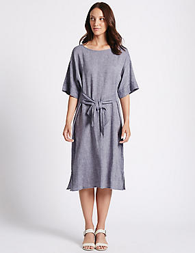 Linen Rich Chambray Shift Midi Dress