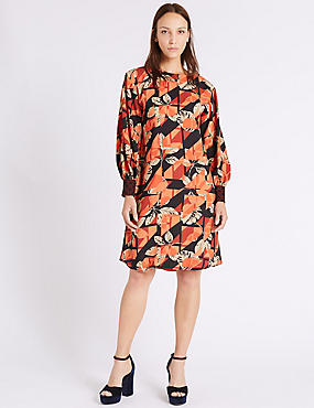 Printed Contrasting Cuff Tunic Midi Dress
