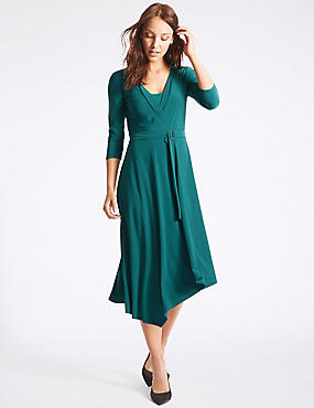 Asymmetrical Hem 3/4 Sleeve Wrap Midi Dress