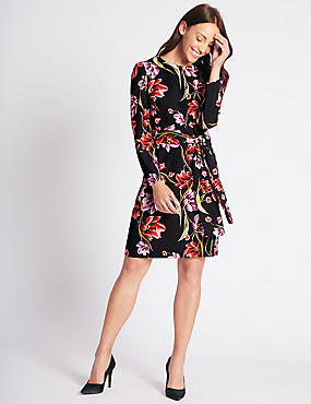 Floral Print Long Sleeve Tunic Midi Dress